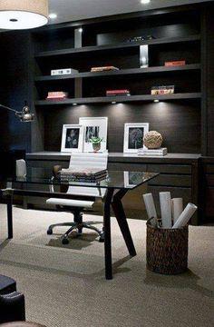 Edgy in Black - Modern Home Office Design Modern Office Design, Office Interior Design, Home Office Decor, Office Interiors, Interior Styling, Office Ideas, Office Designs, Home Decor, Men Office