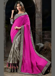 Ethnic Grey and Hot Pink Patch Border Work Art Silk Designer Saree