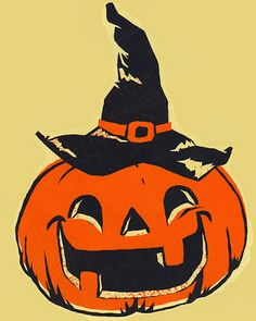Vintage Halloween illustration of jack-o'-lantern in a witch hat Halloween Cartoons, Retro Halloween, Halloween Tags, Happy Halloween Quotes, Happy Halloween Pictures, Halloween History, Feliz Halloween, Vintage Halloween Images, Holidays Halloween