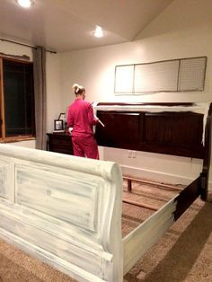 I need to do this to our bed frame when we go back to a queen- Painting and Distressing Furniture