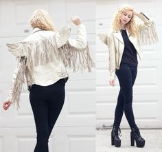 Jeremy Scott Gold Leather Wing Jacket