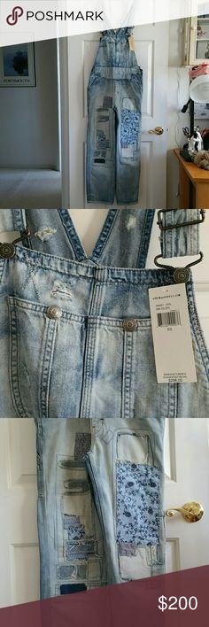 New Denim&Supply R.L.Overalls NWT on Trend Rare and unique distressed patched boho overalls from Ralph Lauren Denim & Supply, So many adorable details and patches - super cool jeans! Denim & Supply Ralph Lauren Jeans Overalls
