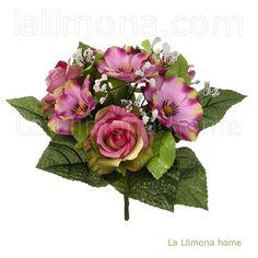 Ramo artificial flores anémonas rosas rosadas 26