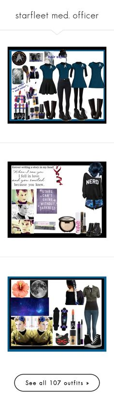 """starfleet med. officer"" by thin-mint on Polyvore featuring shoes, sneakers, converse, 18. converse., high top leather shoes, leather high tops, lace up high top sneakers, converse high tops, leather hi top sneakers and black"