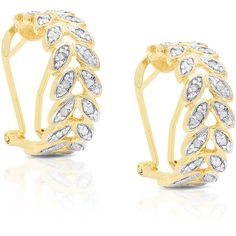Finesque Yellow Gold over Silver 1/4ct TDW Diamond Leaf Hoop Earrings (6135 RSD) ❤ liked on Polyvore featuring jewelry, earrings, yellow, gold earrings, long silver earrings, long gold earrings, silver hoop earrings and yellow gold diamond earrings