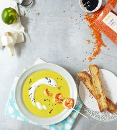Indisches Dal mit Garnelen | Indian Dal Soup with Shrimps | Living at Home