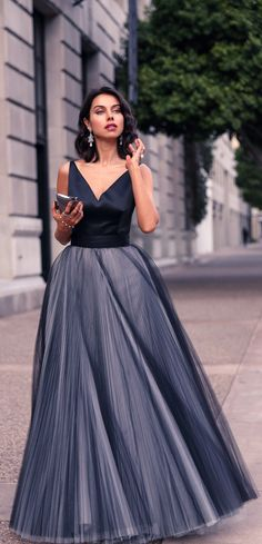 Tulle Gown in Shades of Grey | TOPISTA