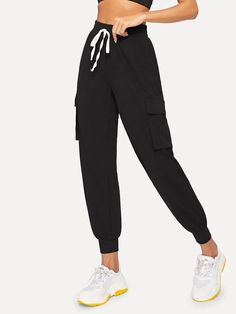 Sporty Plain Cargo Pants Regular Drawstring Waist and Elastic Waist Mid Waist Black Cropped Length Drawstring Waist Flap Pocket Side Tapered Pants Cute Pants, Type Of Pants, Pants Outfit, Drawstring Waist, Trousers, Harem Pants, Autumn Fashion, Pants For Women, Cute Outfits
