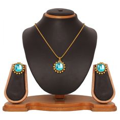 USD 15.45 Sky Blue Zinc Kundans Necklace With Earrings 43971