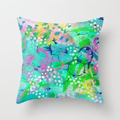 Watercolor pillow....lovely colors of blues, greens and a touch of lavender.