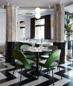 """""""A refined celebration of 1950s Italian glamour, the interior of San George #bistro in #Amsterdam designed by #FrameworkStudio features a crisp black,…"""""""