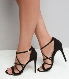 Sandales à talons noires en suédine avec brides multiples   New Look