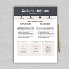 ► Sale 50% OFF!  ************************************************************************************  This resume template will help you get noticed! This template is also fully customizable, so you can easily modify it, you can change the fonts, colors, layout, add your own photo and even add and delete sections. The package includes a resume templates, cover letter example and a references template in an elegant, modern theme…