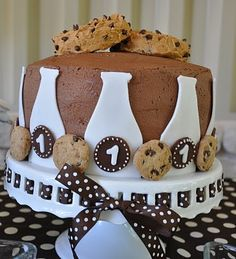 Cake for Milk & Cookies party.  Cookies on top are frosted brownies.