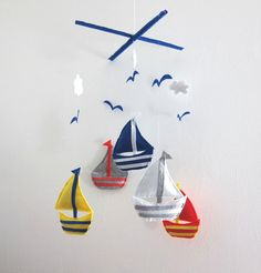 "Baby Mobile - Sailboats Crib Mobile - Handmade Nursery Mobile - ""sea Dream""…"