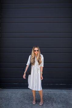 Striped Shirt Dress & Classic Flats | The Teacher Diva