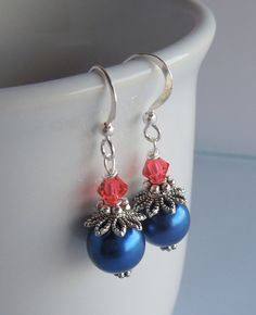 Navy Blue and Coral Earrings Pearls and by Sarahkayejewelry2