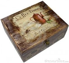 Decoupage Box (Great idea for a Tea Box} Decoupage Vintage, Decoupage Wood, Decoupage Furniture, Decoupage Drawers, Decoupage Plates, Altered Boxes, Altered Art, Cigar Box Crafts, Pretty Box