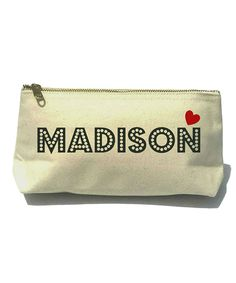 Black Dot Lettering Heart Bella Personalized Cosmetic Bag