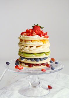 Rainbow Fruit Sugar Cookie Cake » Would be fun to do with waffles too!