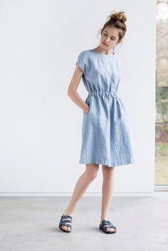 Bluish grey basic linen dress with elastic waistband