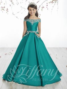 Tiffany Princess 13513 Peacock Off The Shoulder Girl Pageant Dress