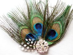 Wedding Hair Piece Bridal Peacock Feather Hair Clip by WeeGardens