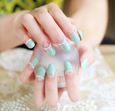 Long Round Mint Green Tips with Pearl Accented French Nails