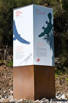 Cotter Dam Interpretive Signage Printed on pre-painted aluminium plates with a satin matt anti-graffiti finish Zoo Signage, Signage Board, Directional Signage, Signage Display, Outdoor Signage, Wayfinding Signage, Signage Design, Environmental Graphic Design, Environmental Graphics