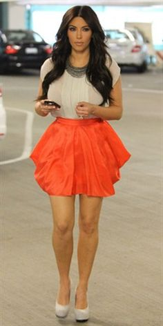 kardashian orange skirt - Google Search. Nit a Kardashian fan but love that skirt.
