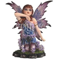 Kneeling Purple Flower Fairy Statue - 05-91586 by Medieval Collectibles