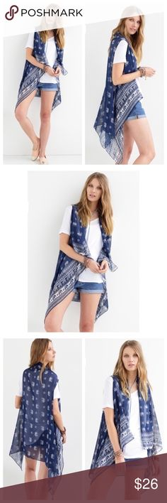 Coming Soon  Elephant & Tribal Navy Kimono Elephant and tribal mix print sheer light weight vest with unbalanced hem line.   One size fits most. 100% polyester. Accessories Scarves & Wraps