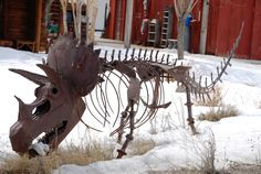 Scrap metal dinosaur near Grand Tetons National Park