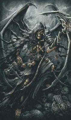 Angel of Death, drape mood Grim Reaper Art, Grim Reaper Tattoo, Don't Fear The Reaper, Dark Fantasy Art, Fantasy Artwork, Dark Art, Arte Horror, Horror Art, Monsters
