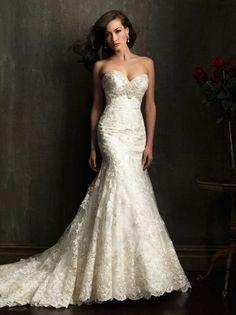 Gorgeous Mermaid Fitted Bodice Sweetheart Crystals Wedding Dresses Lace www.essish.com/?utm_content=buffer21c62&utm_medium=social&utm_source=pinterest.com&utm_campaign=buffer