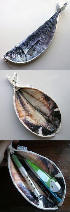 Weird Pen Pencil Case Horse Mackerel Fish Pouch