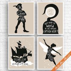 Peter Pan Neverland inspiré des citations - ensemble de 4 tirages Art Print (sans cadre) (recommandés en sable et noir) Peter Pan