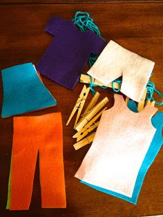 Busy Bag Idea: printable clothes- on felt with string and clothespins. Make a clothesline...in the bath, too. (finished)