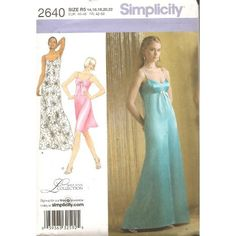 Amazon.com: Simplicity Pattern # 2640 Size R5 (14-22) Misses Evening Dress in Two Lenghts with Back Variations: Arts, Crafts & Sewing