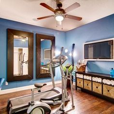 Give A Windowless Workout Room Large Mirrors Expand View Sky Blue Walls
