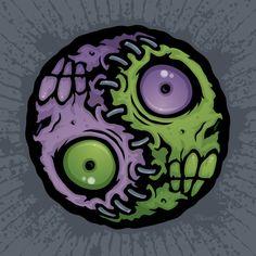 Zombie Yin-Yang Art Print by fizzgig Arte Yin Yang, Ying Y Yang, Yin Yang Art, Rob Zombie Art, Arte Zombie, Smileys, Zombie Tattoos, Arte Horror, Cartoon Art