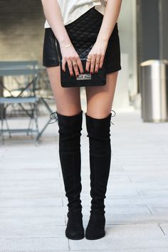 Cute & Edgy Leather Skirt &  Stuart Weitzman lowland boots