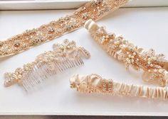 Crystal & Pearl Beaded Sash - BLUSH FIONA