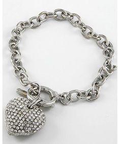 228281 Rhodiumized / Clear Rhinestone / Toggle Closure / Valentine's Day /heart Charm Bracelet