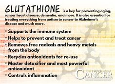 """Are you familiar with Gluthathione? It's a key for preventing aging, cancer, heart disease, dementia, and other chronic diseases. Click through to read all about how it works and why it is considered """"the master antioxidant""""! Article by Tony Isaacs. Please re-pin to share with your family & friends! Together we can educate the world! // The Truth About Cancer <3"""