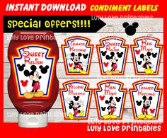 OFF SALE Mickey Mouse Condiments Label instant by youparty Food Tags, Food Labels, Mickey Mouse, Birthday Tags, Moon Print, Mickey Party, Off Sale, Baby Party, Party Themes