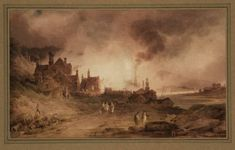 Artwork page for 'Bedlam Furnace, Madeley Dale, Shropshire', Paul Sandby Munn, 1803 on display at Tate Britain. With its ready supply of coal and iron ore, Shropshire was at the heart of the acceleration of Britain's industrial economy from the middle of the 18th century. Here, Munn shows a scene of local industry with great attention to detail, both of the buildings and of atmospheric effects. The picture could be said to be an attempt at a kind of industrial version of the Picturesque…