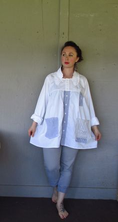 Funky Bohemian tunic/Eco upcycled clothing/repurposed Lagenlook top/white up cycled French Shabby shirt/summer Artsy jacket Large-X large