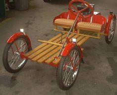 Building a Repli-Car of the 1920 A.Smith FlyerYou can find Pedal cars and more on our website.Building a Repli-Car of the 1920 A. Build A Go Kart, Diy Go Kart, Electric Go Kart, Electric Cars, Velo Cargo, Wood Bike, Car Jokes, Wooden Car, Pedal Cars