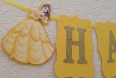 Belle birthday banner, princess belle banner, beauty and the beast birthday banner on Etsy, $22.00